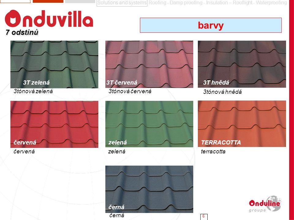 barvy 7 odstínů 3T zelená 3T červená 3T hnědá 3tónová zelená