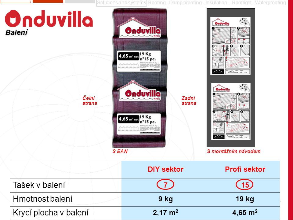 Tašek v balení Hmotnost balení Krycí plocha v balení Balení DIY sektor