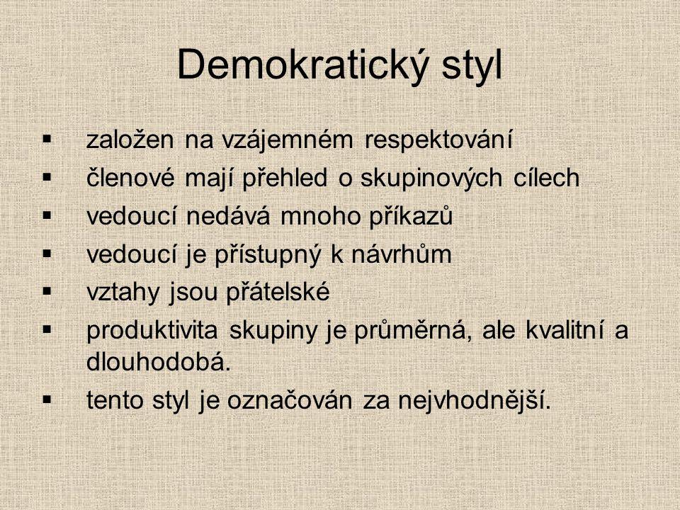 Demokratický styl založen na vzájemném respektování