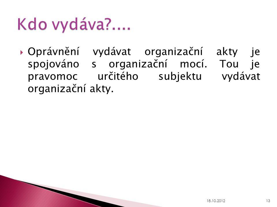 Kdo vydáva .... Oprávnění vydávat organizační akty je spojováno s organizační mocí. Tou je pravomoc určitého subjektu vydávat organizační akty.