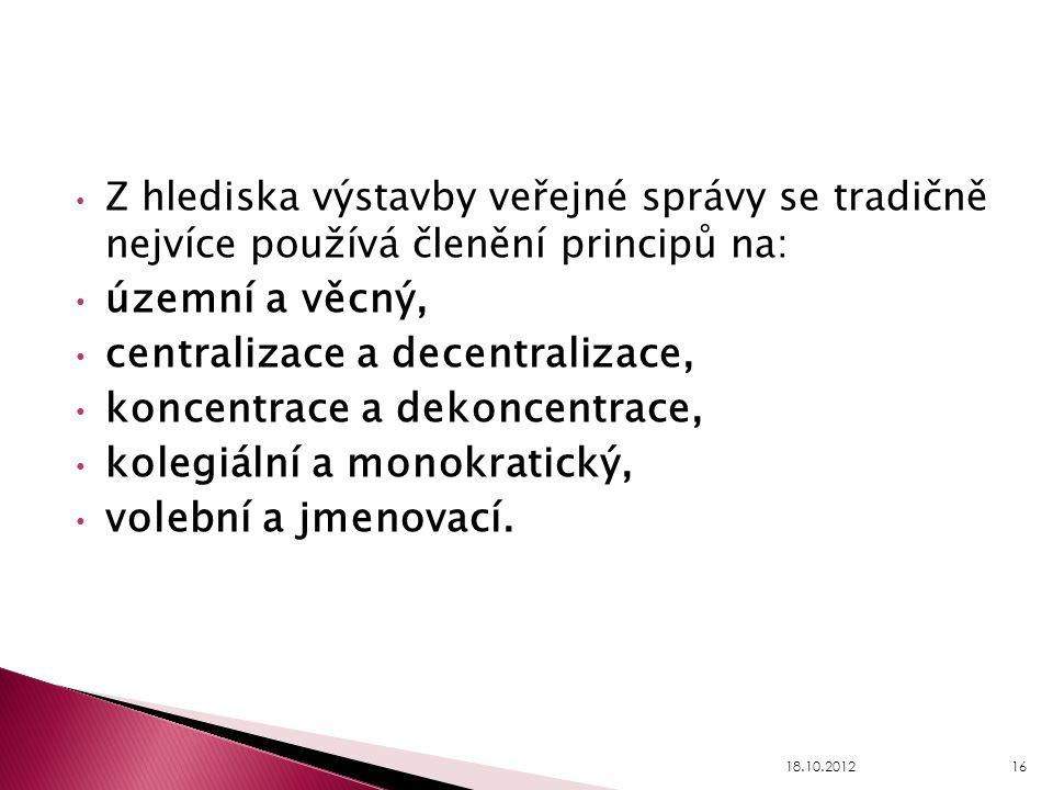 centralizace a decentralizace, koncentrace a dekoncentrace,
