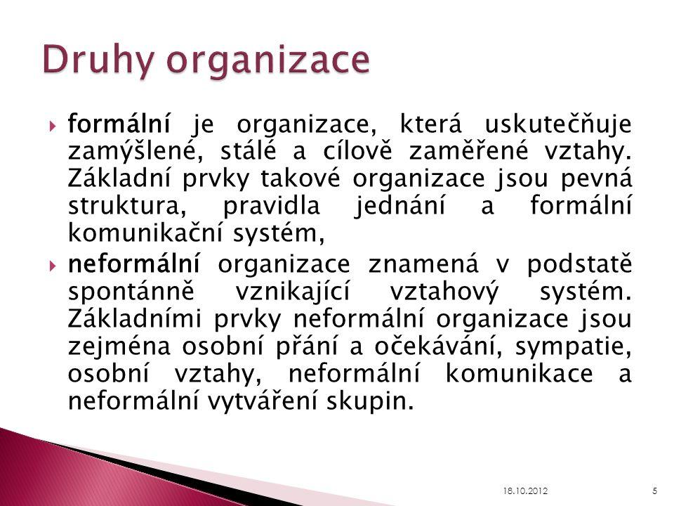Druhy organizace