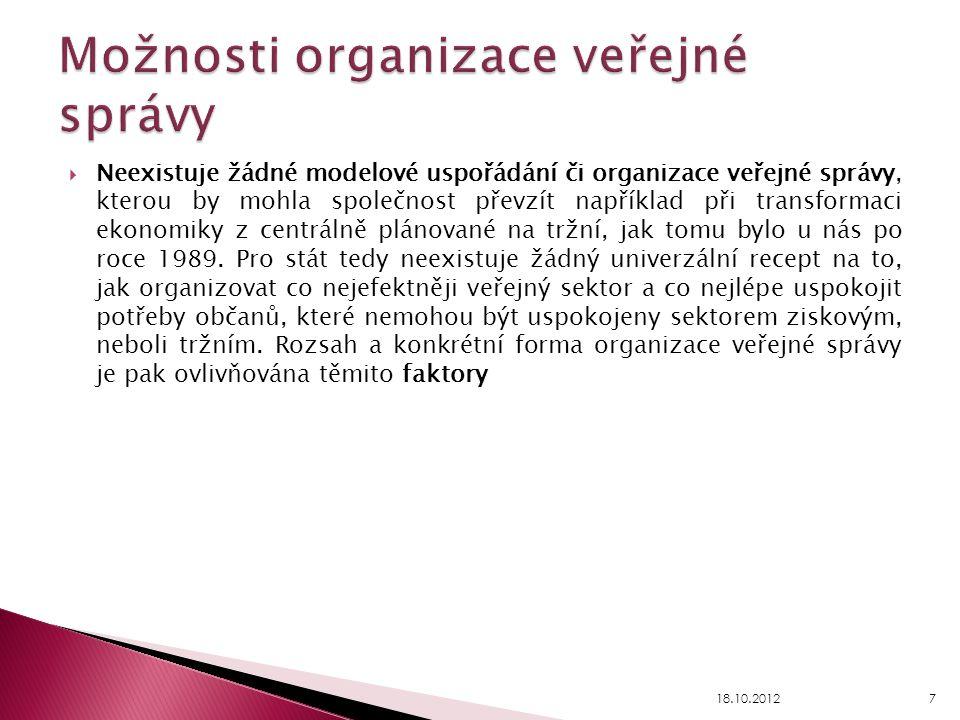 Možnosti organizace veřejné správy