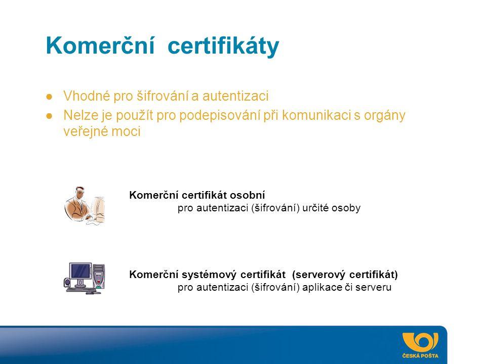 Komerční certifikáty Vhodné pro šifrování a autentizaci