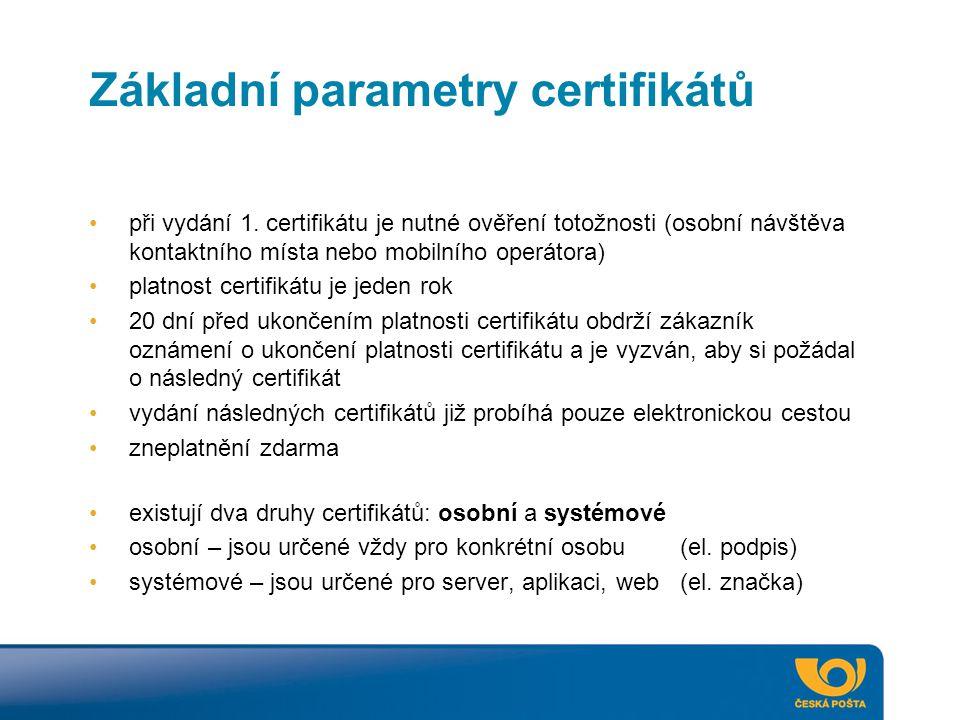 Základní parametry certifikátů
