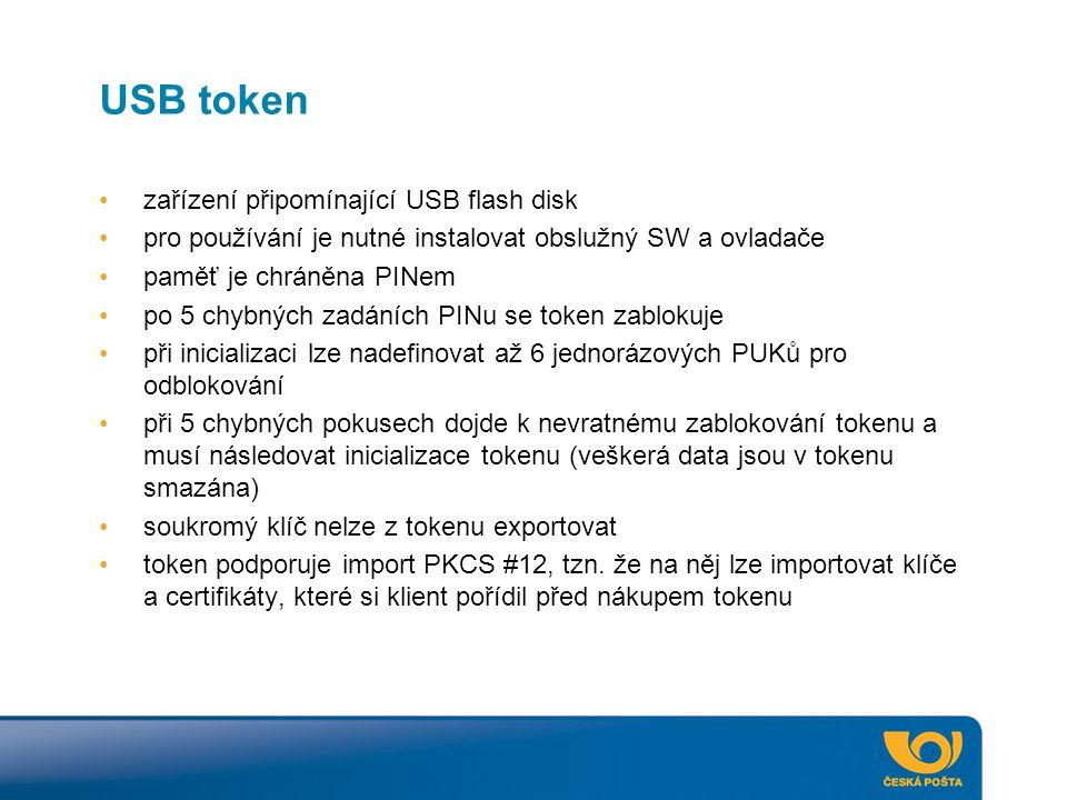USB token zařízení připomínající USB flash disk