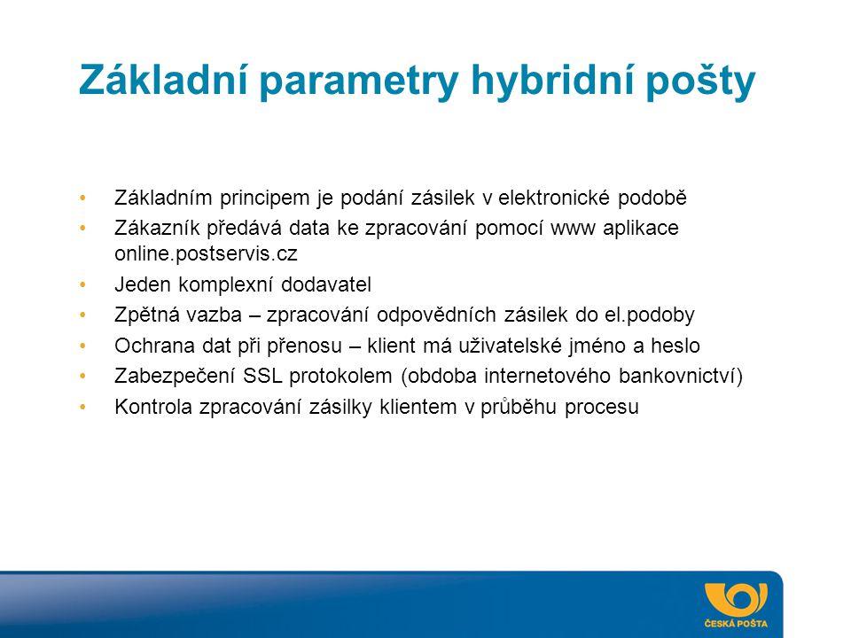 Základní parametry hybridní pošty