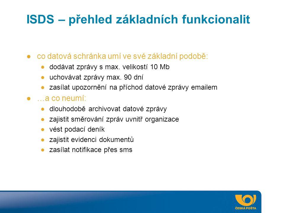 ISDS – přehled základních funkcionalit