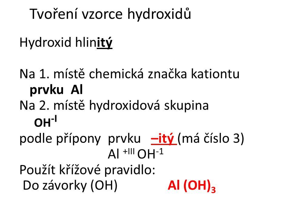 Tvoření vzorce hydroxidů
