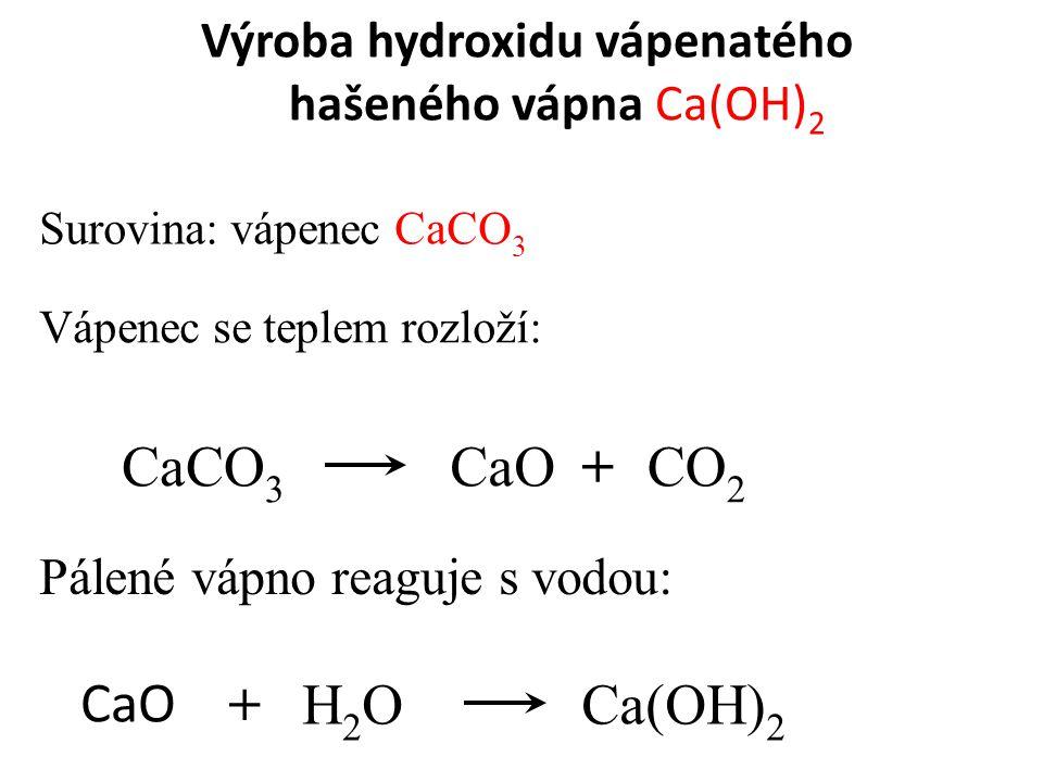 Výroba hydroxidu vápenatého hašeného vápna Ca(OH)2