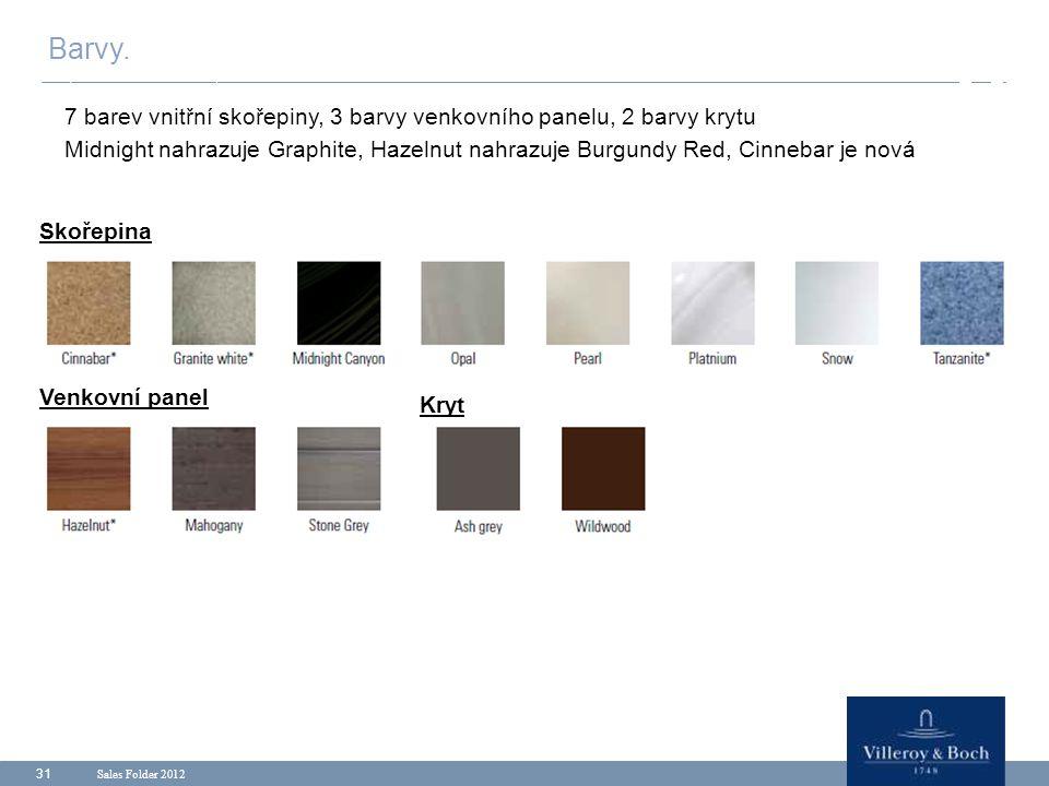 Barvy. 7 barev vnitřní skořepiny, 3 barvy venkovního panelu, 2 barvy krytu.