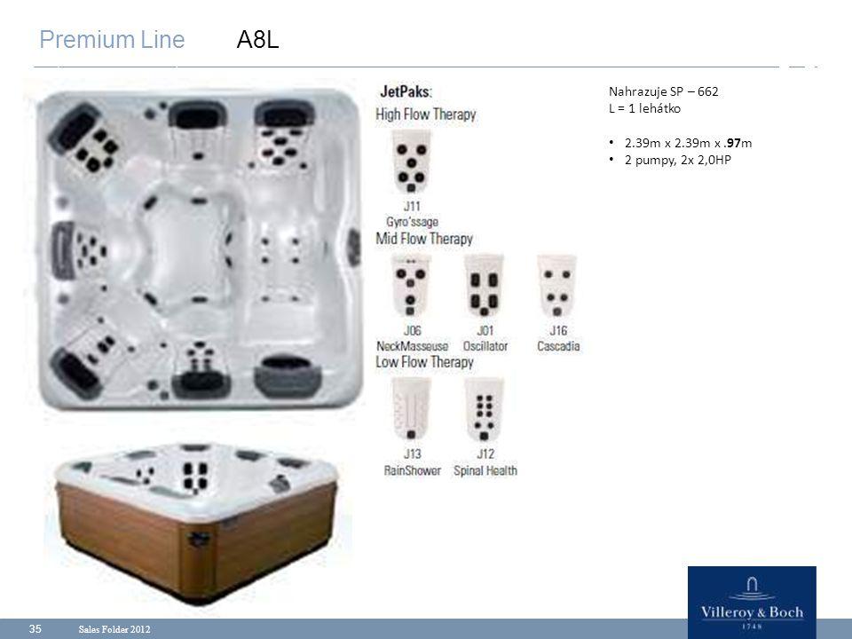 Premium Line A8L Nahrazuje SP – 662 L = 1 lehátko 2.39m x 2.39m x .97m