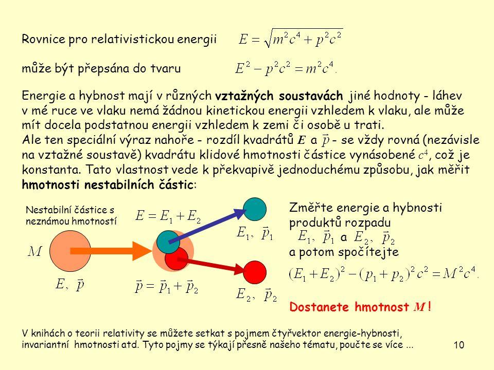 Rovnice pro relativistickou energii může být přepsána do tvaru
