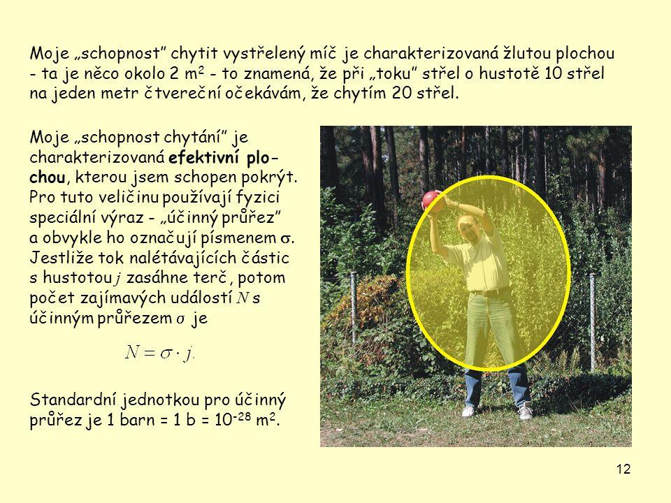 """Moje """"schopnost chytit vystřelený míč je charakterizovaná žlutou plochou - ta je něco okolo 2 m2 - to znamená, že při """"toku střel o hustotě 10 střel na jeden metr čtvereční očekávám, že chytím 20 střel."""