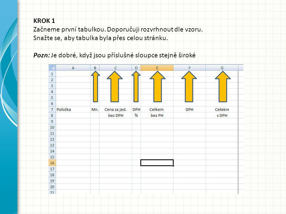 KROK 1 Začneme první tabulkou. Doporučuji rozvrhnout dle vzoru. Snažte se, aby tabulka byla přes celou stránku.