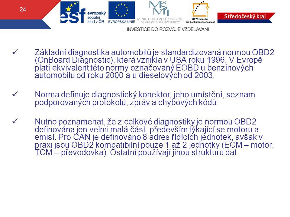 Základní diagnostika automobilů je standardizovaná normou OBD2 (OnBoard Diagnostic), která vznikla v USA roku 1996. V Evropě platí ekvivalent této normy označovaný EOBD u benzínových automobilů od roku 2000 a u dieselových od 2003.