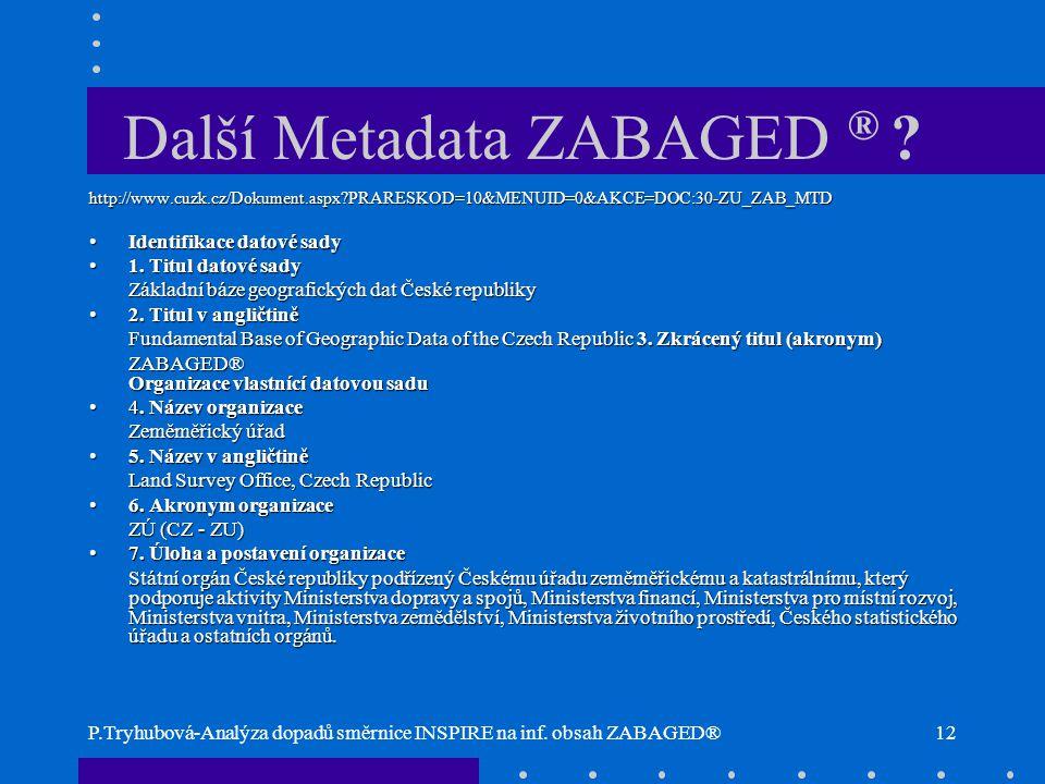Další Metadata ZABAGED ®