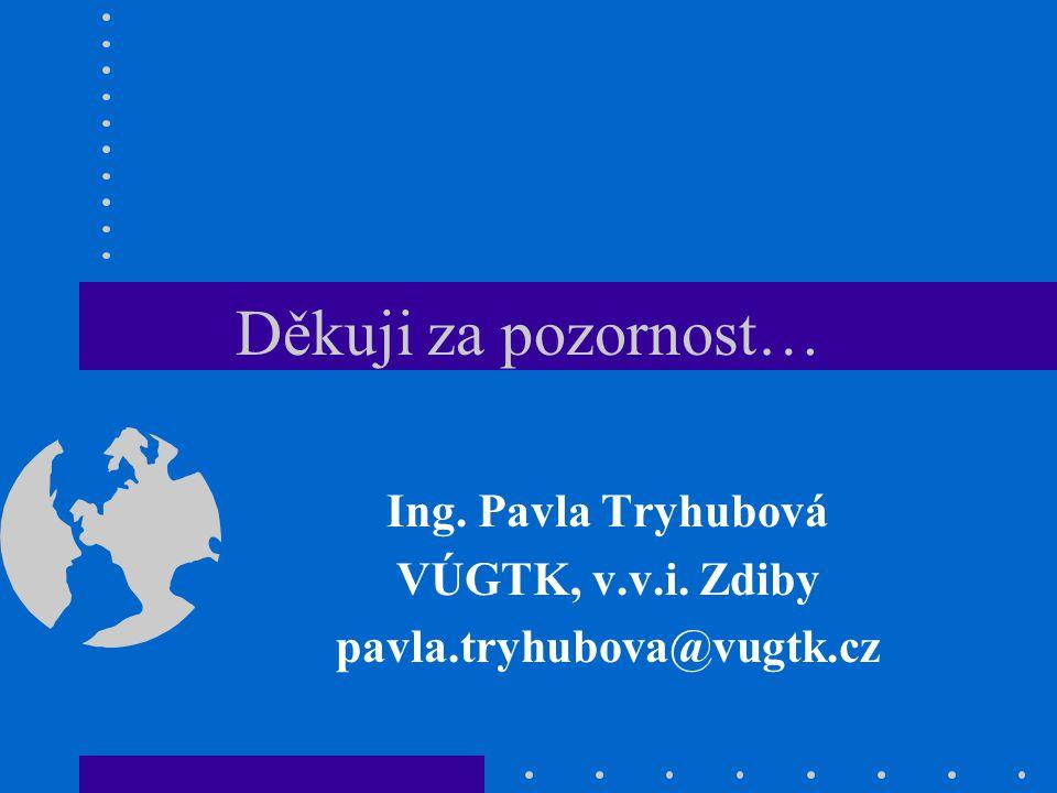 Ing. Pavla Tryhubová VÚGTK, v.v.i. Zdiby pavla.tryhubova@vugtk.cz