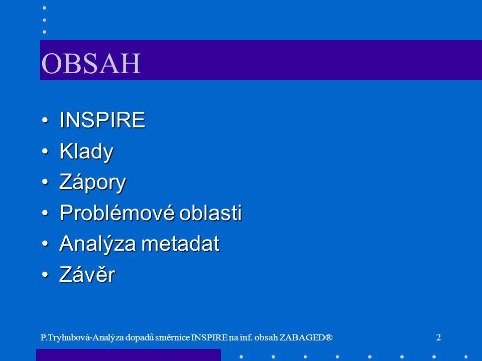 OBSAH INSPIRE Klady Zápory Problémové oblasti Analýza metadat Závěr