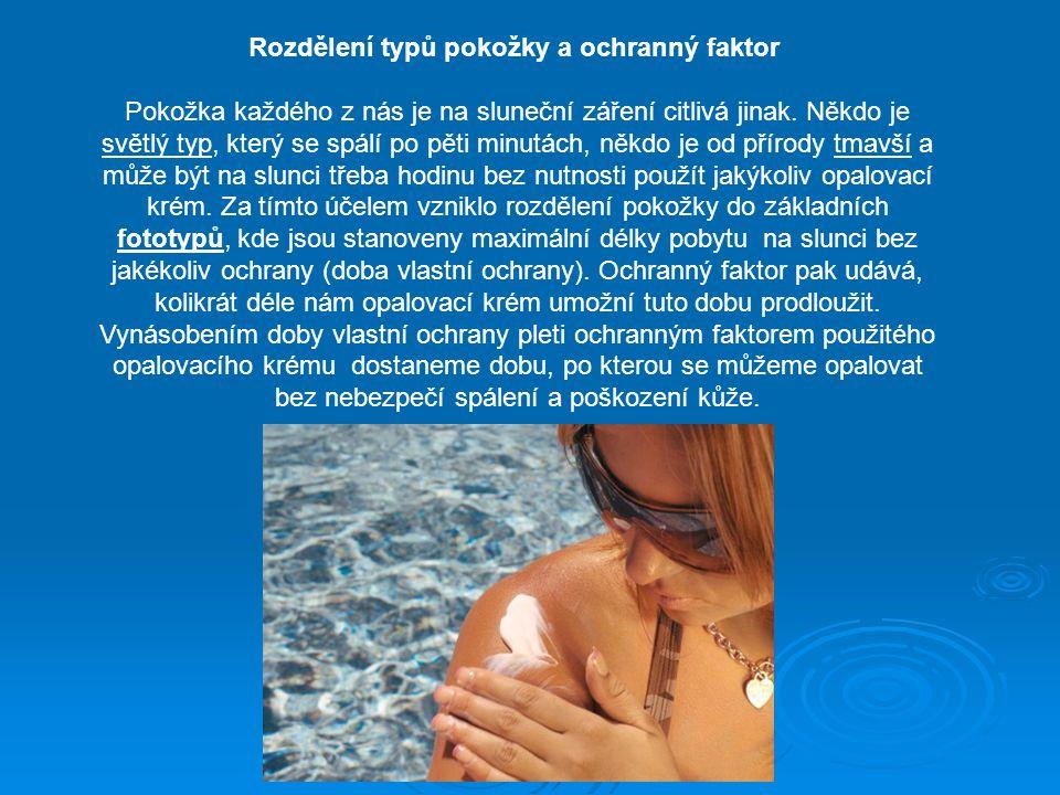 Rozdělení typů pokožky a ochranný faktor