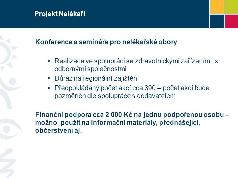 Projekt Nelékaři Konference a semináře pro nelékařské obory. Realizace ve spolupráci se zdravotnickými zařízeními, s odbornými společnostmi.