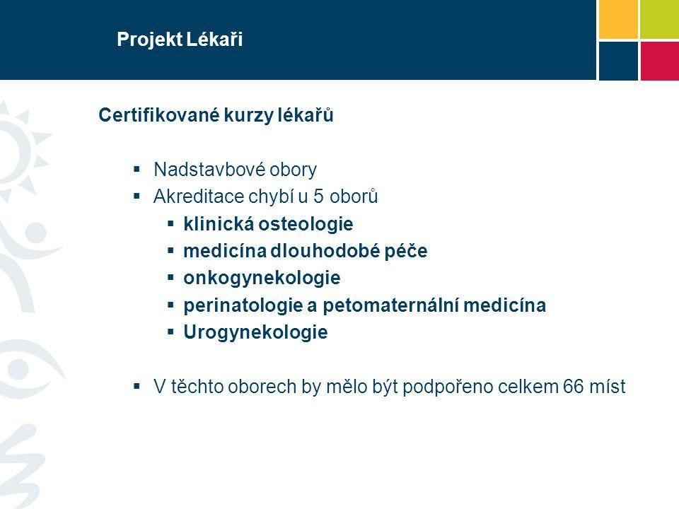 Projekt Lékaři Certifikované kurzy lékařů. Nadstavbové obory. Akreditace chybí u 5 oborů. klinická osteologie.