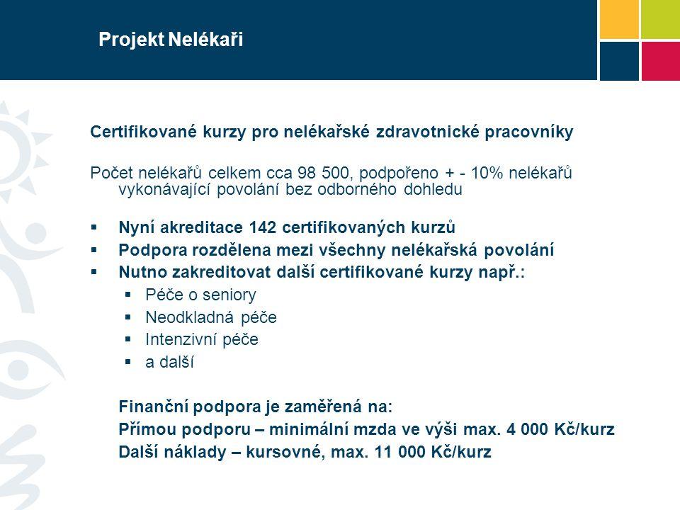 Projekt Nelékaři Certifikované kurzy pro nelékařské zdravotnické pracovníky.