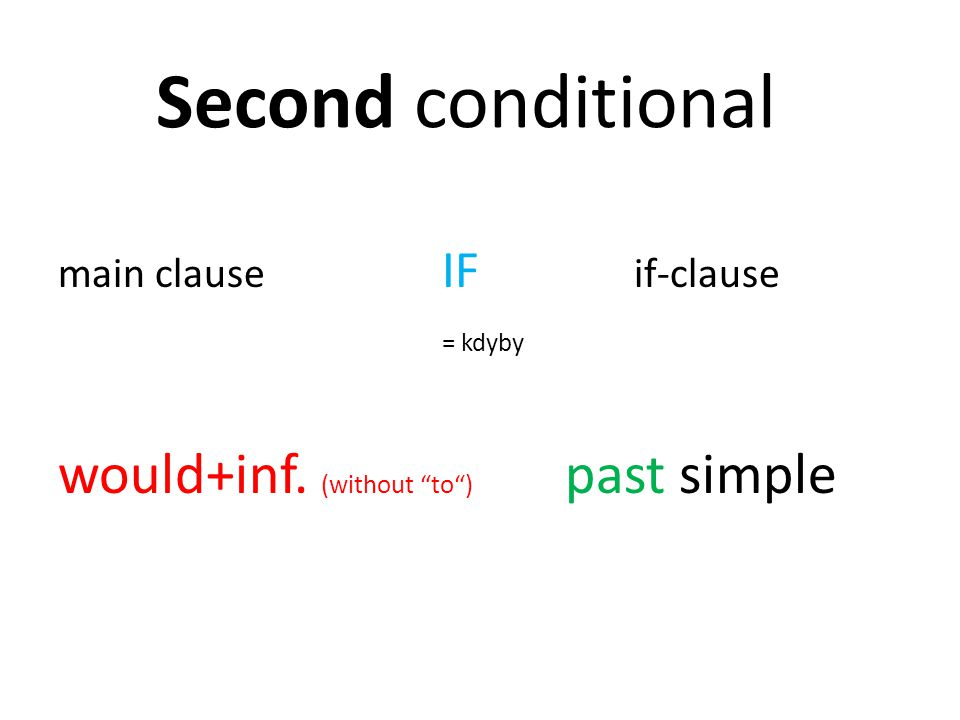 Second conditional would+inf. (without to ) past simple