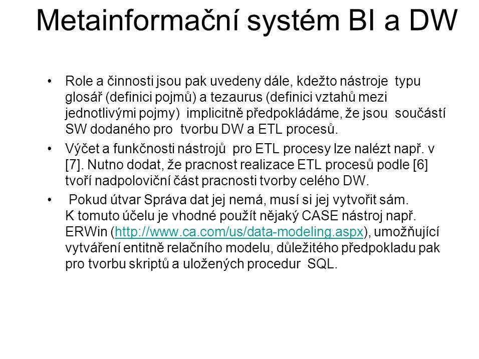 Metainformační systém BI a DW