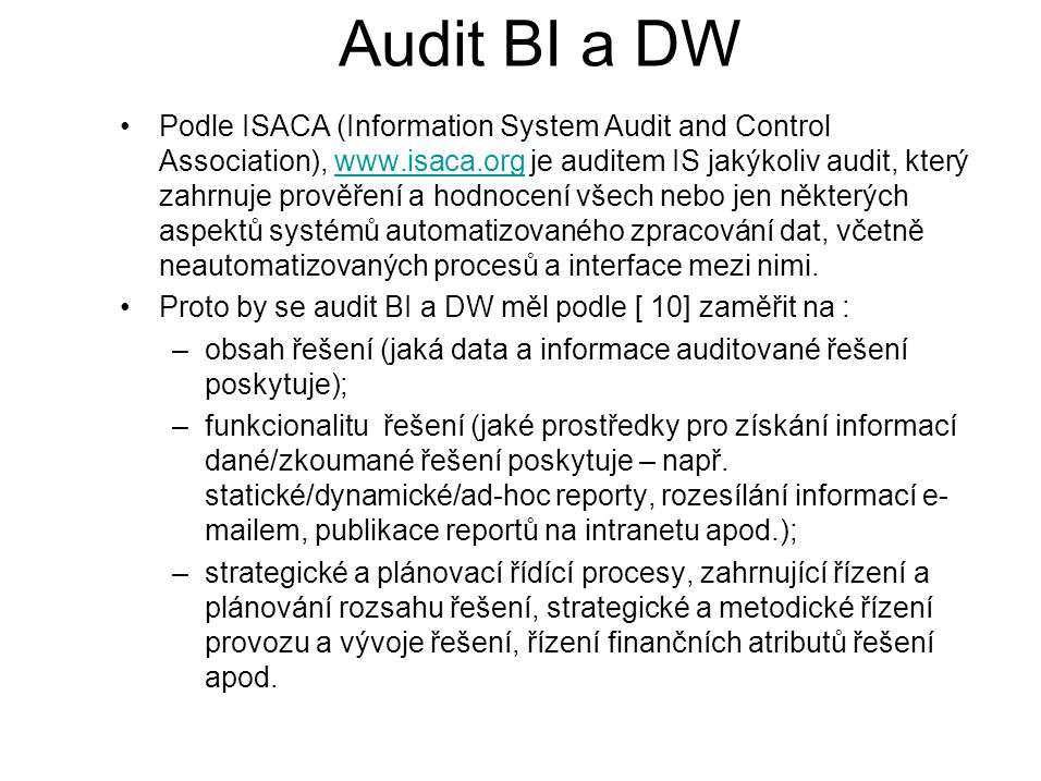 Audit BI a DW