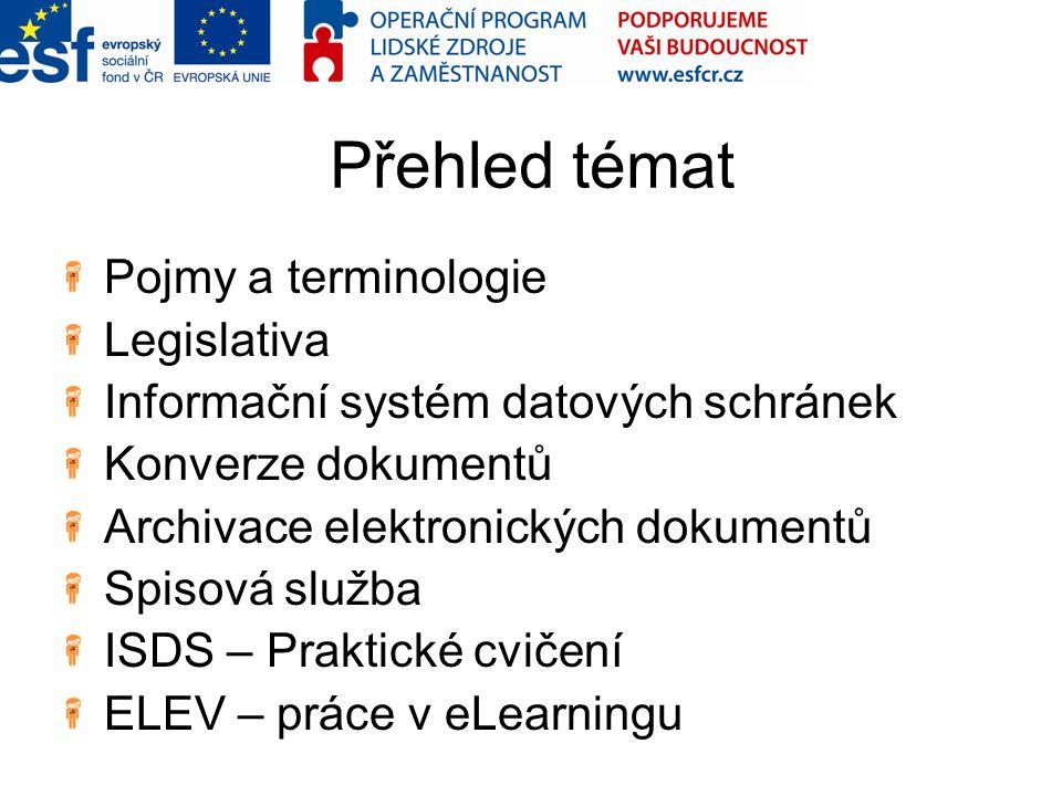 Přehled témat Pojmy a terminologie Legislativa