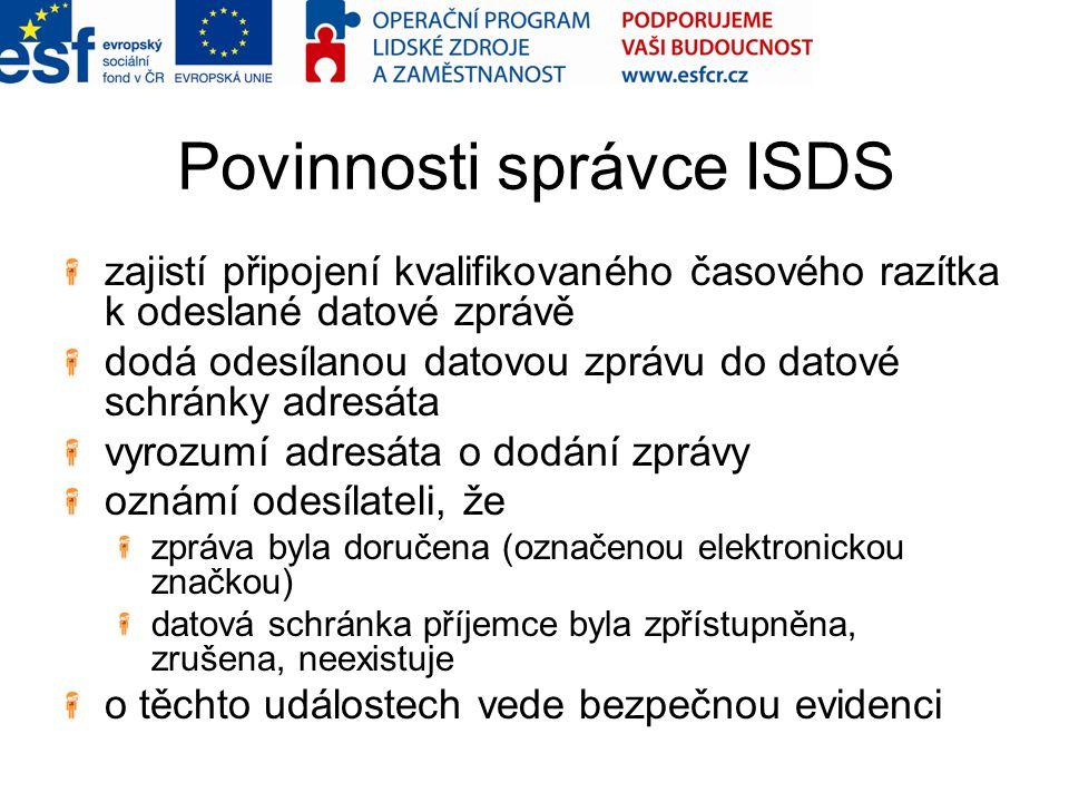 Povinnosti správce ISDS