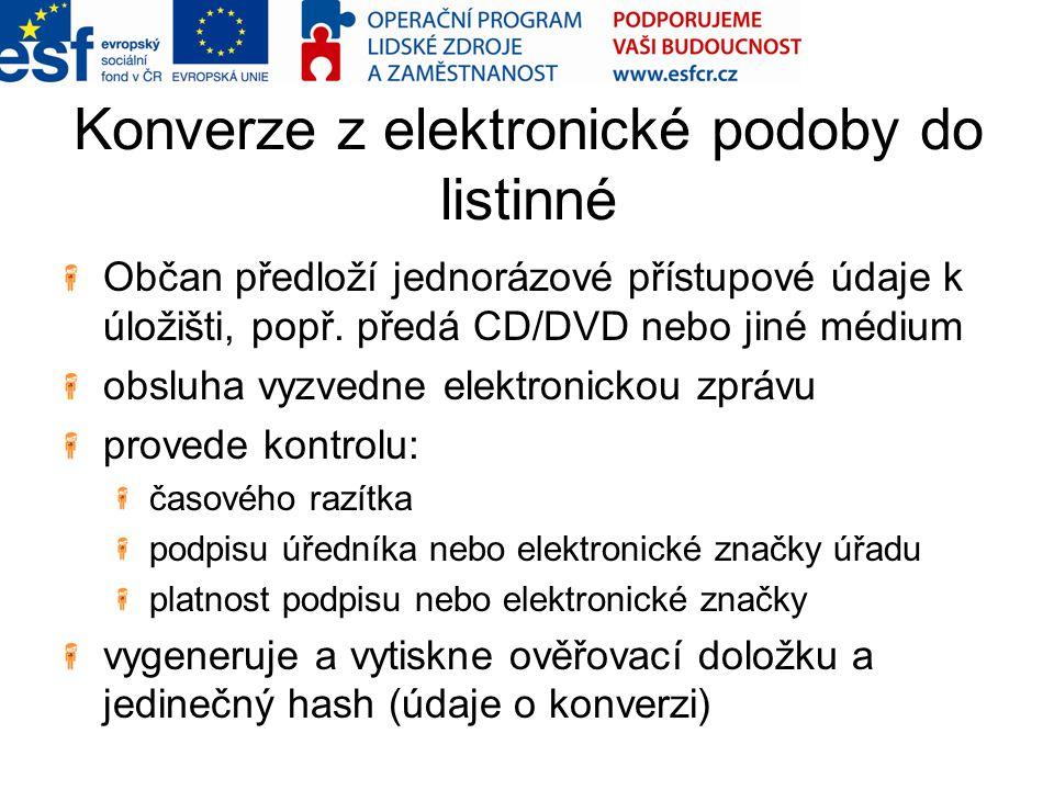 Konverze z elektronické podoby do listinné