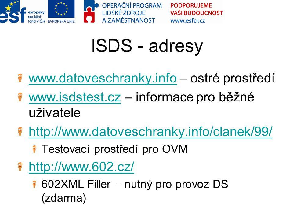 ISDS - adresy www.datoveschranky.info – ostré prostředí