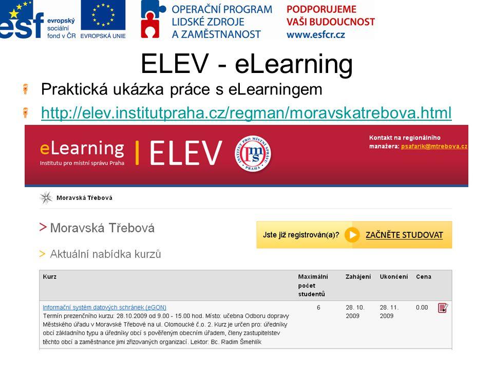 ELEV - eLearning Praktická ukázka práce s eLearningem