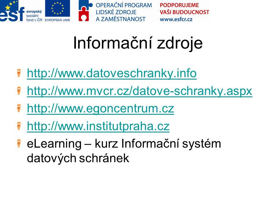 Informační zdroje http://www.datoveschranky.info