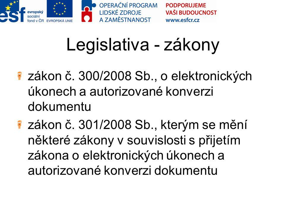 Legislativa - zákony zákon č. 300/2008 Sb., o elektronických úkonech a autorizované konverzi dokumentu.