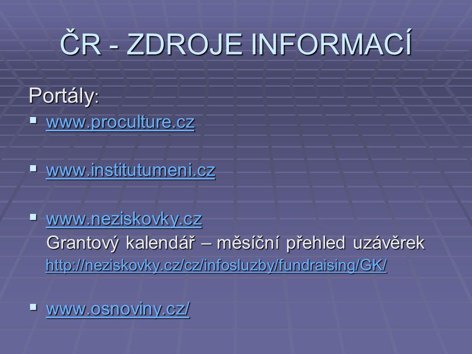 ČR - ZDROJE INFORMACÍ Portály: www.proculture.cz www.institutumeni.cz