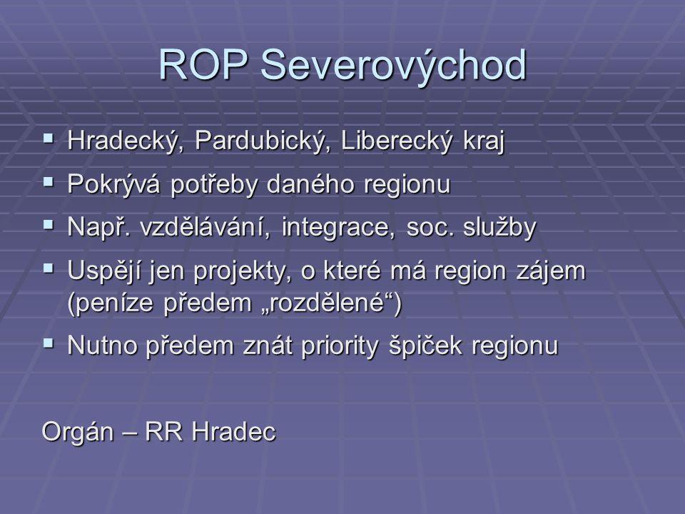 ROP Severovýchod Hradecký, Pardubický, Liberecký kraj