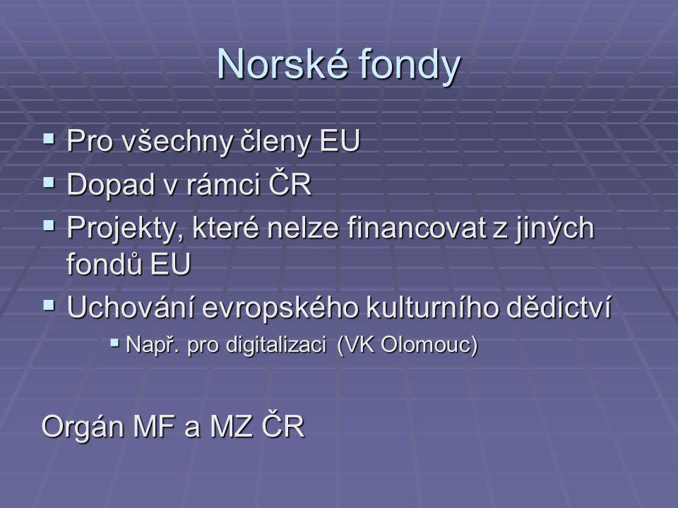 Norské fondy Pro všechny členy EU Dopad v rámci ČR