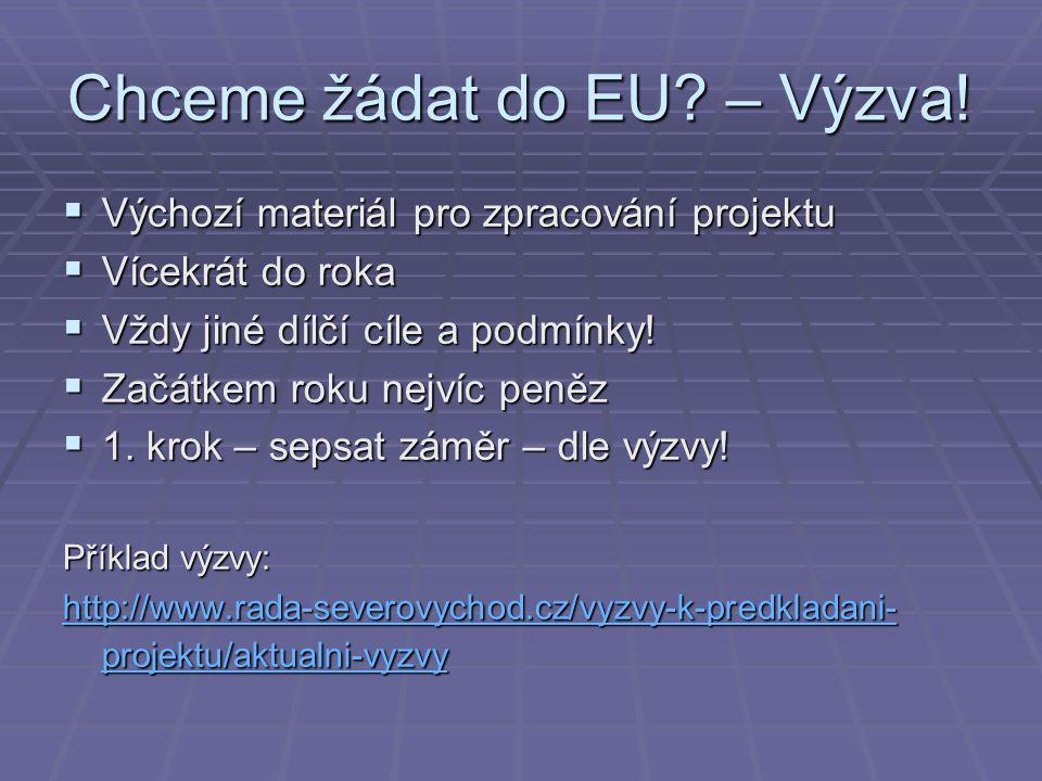 Chceme žádat do EU – Výzva!