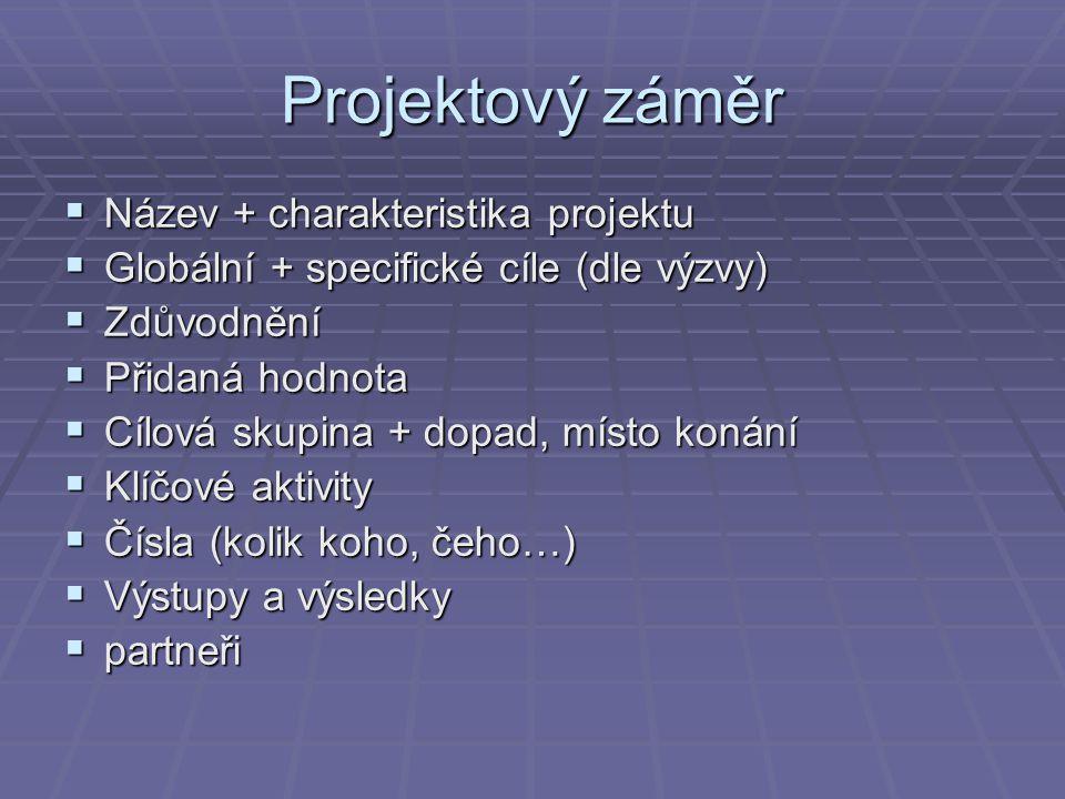 Projektový záměr Název + charakteristika projektu