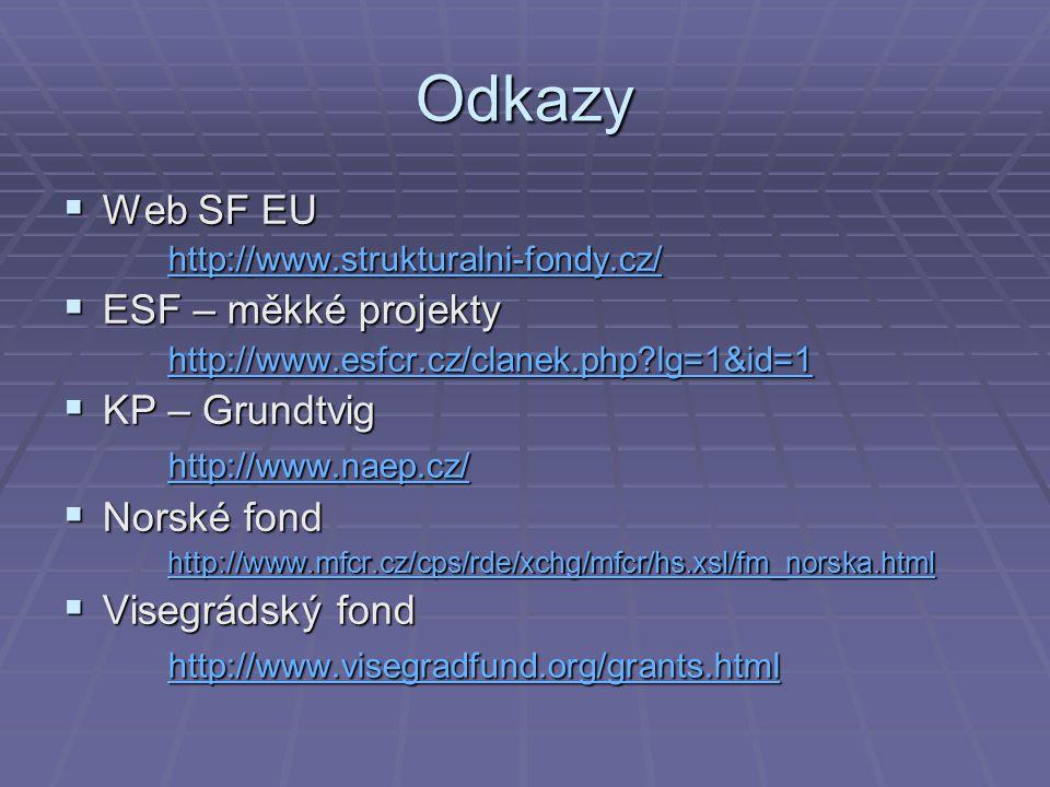 Odkazy Web SF EU ESF – měkké projekty KP – Grundtvig