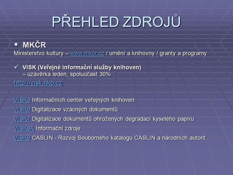 PŘEHLED ZDROJŮ MKČR http://visk.nkp.cz