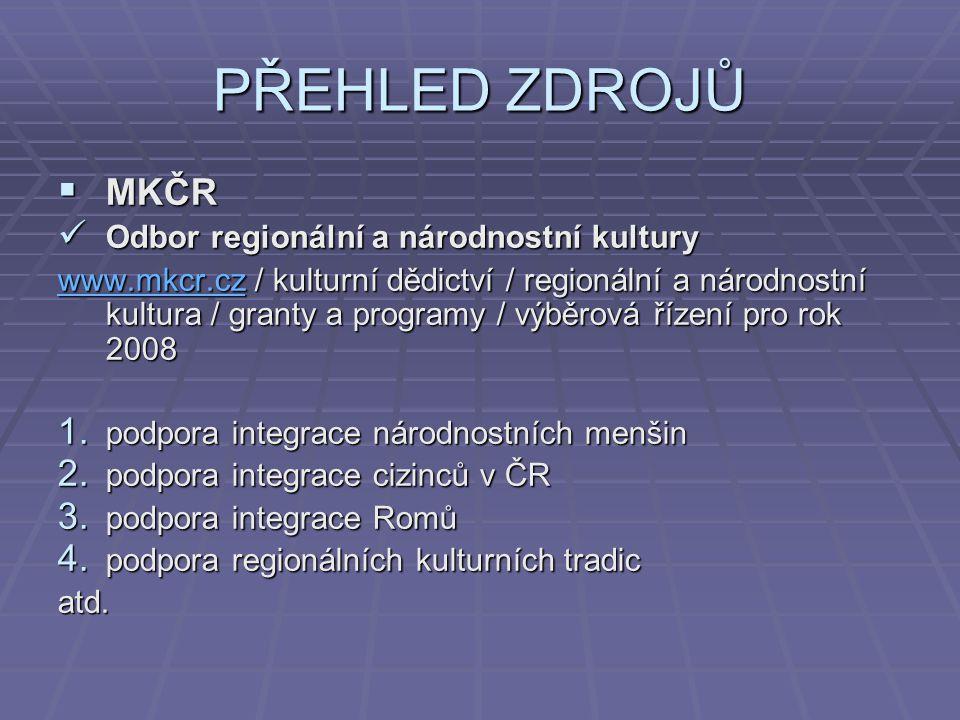 PŘEHLED ZDROJŮ MKČR Odbor regionální a národnostní kultury