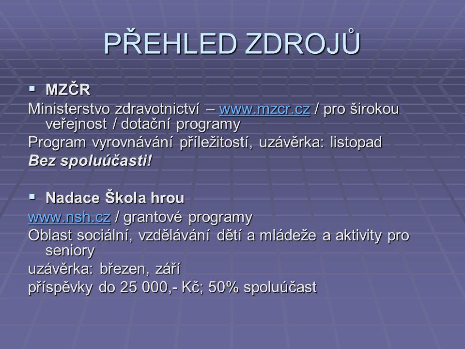 PŘEHLED ZDROJŮ MZČR. Ministerstvo zdravotnictví – www.mzcr.cz / pro širokou veřejnost / dotační programy.