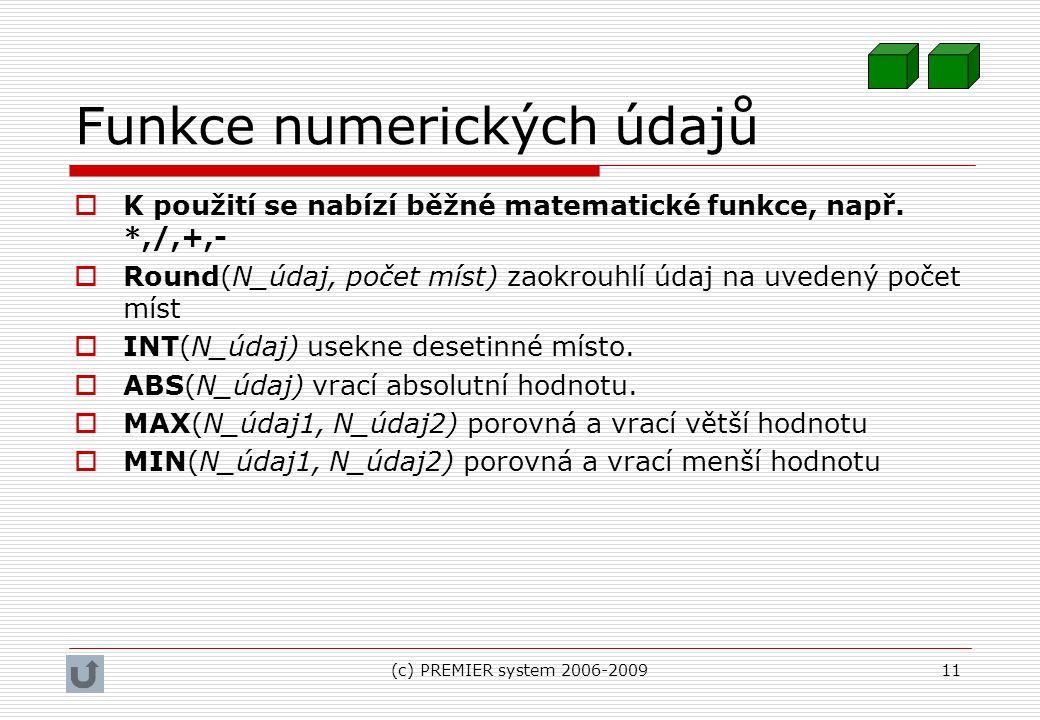 Funkce numerických údajů