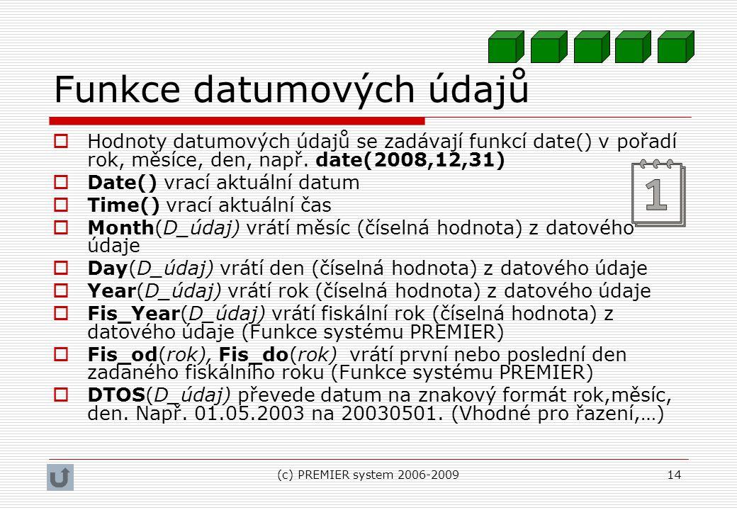 Funkce datumových údajů