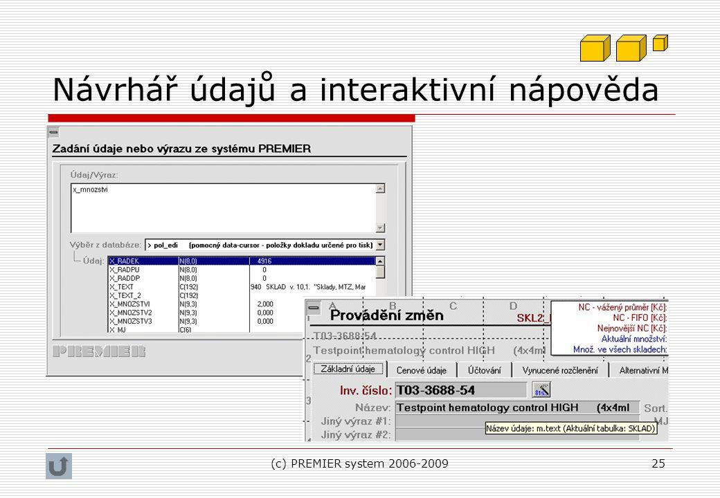 Návrhář údajů a interaktivní nápověda