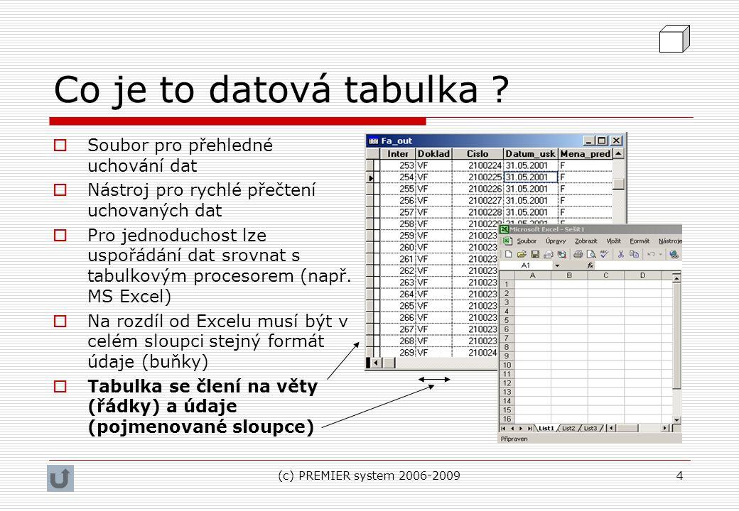 Co je to datová tabulka Soubor pro přehledné uchování dat